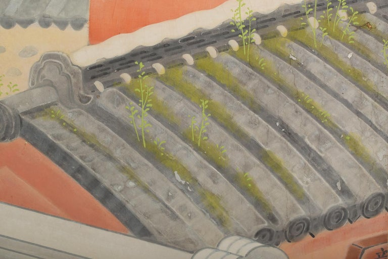 Japanese Four Panel Screen, Okinawa Painting of a Temple Scene For Sale 3