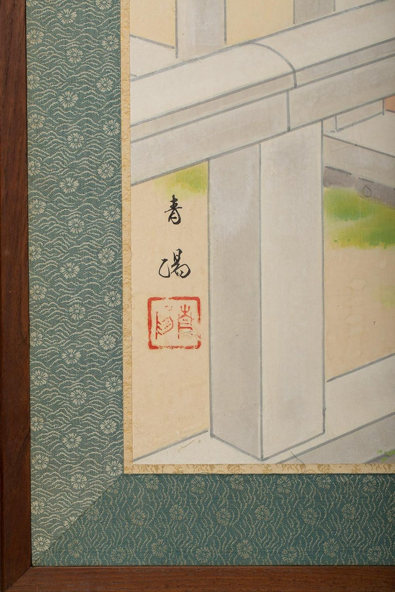 Japanese Four Panel Screen, Okinawa Painting of a Temple Scene For Sale 5