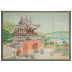 Japanese Four Panel Screen, Okinawa Painting of a Temple Scene