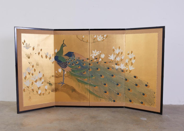 Japanese Four Panel Screen Peacock and Flowering Magnolia For Sale 3