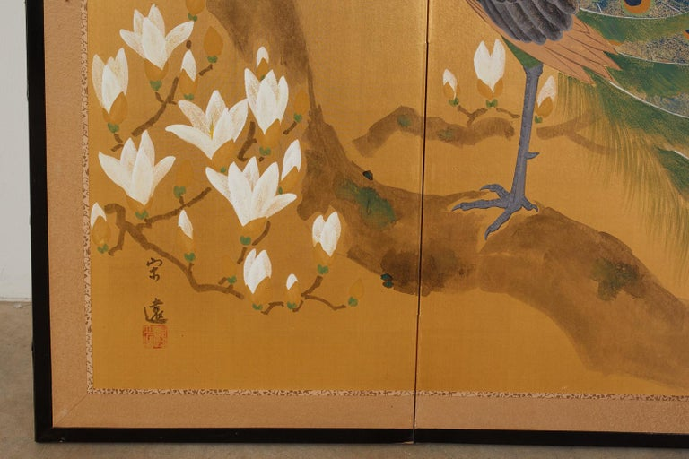 Japanese Four Panel Screen Peacock and Flowering Magnolia For Sale 4
