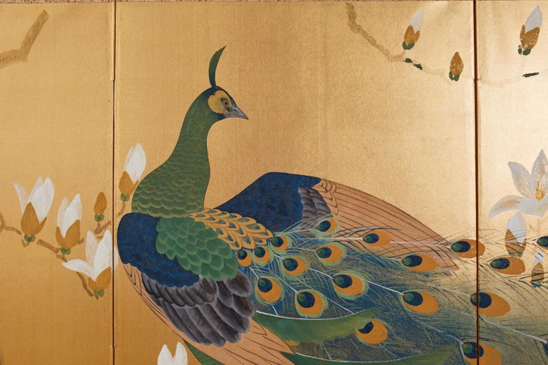 Japanese Four Panel Screen Peacock and Flowering Magnolia For Sale 5