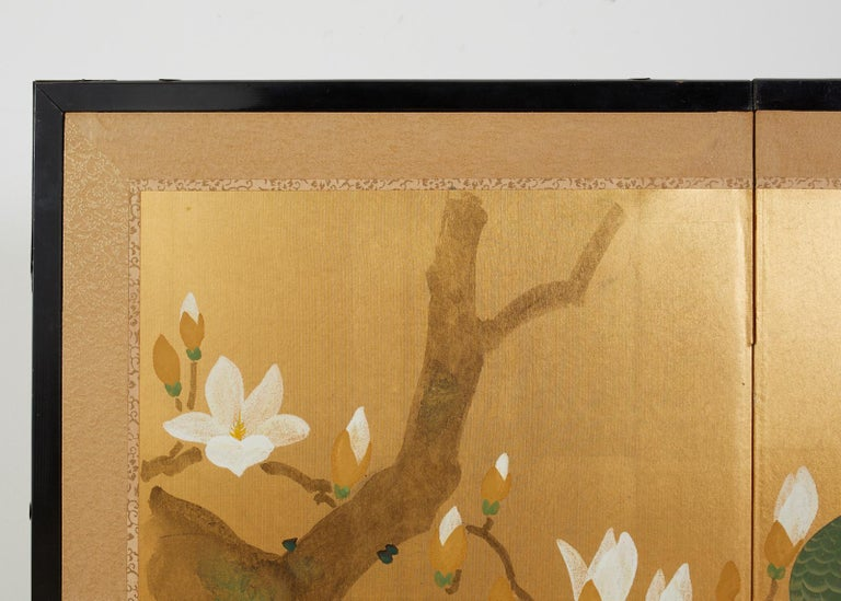 Japanese Four Panel Screen Peacock and Flowering Magnolia For Sale 6