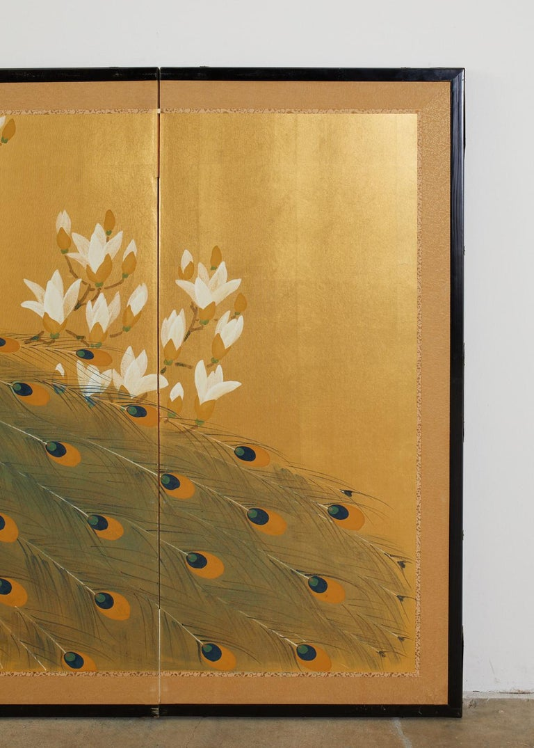 Japanese Four Panel Screen Peacock and Flowering Magnolia For Sale 7