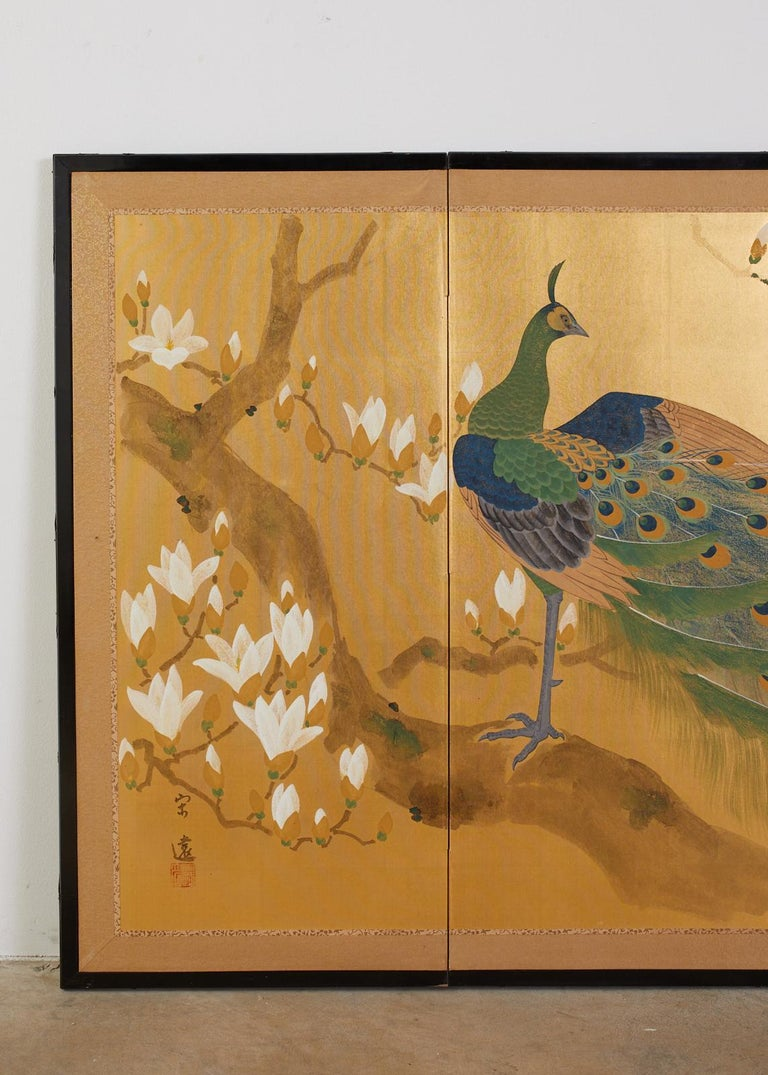 Japanese Four Panel Screen Peacock and Flowering Magnolia For Sale 8