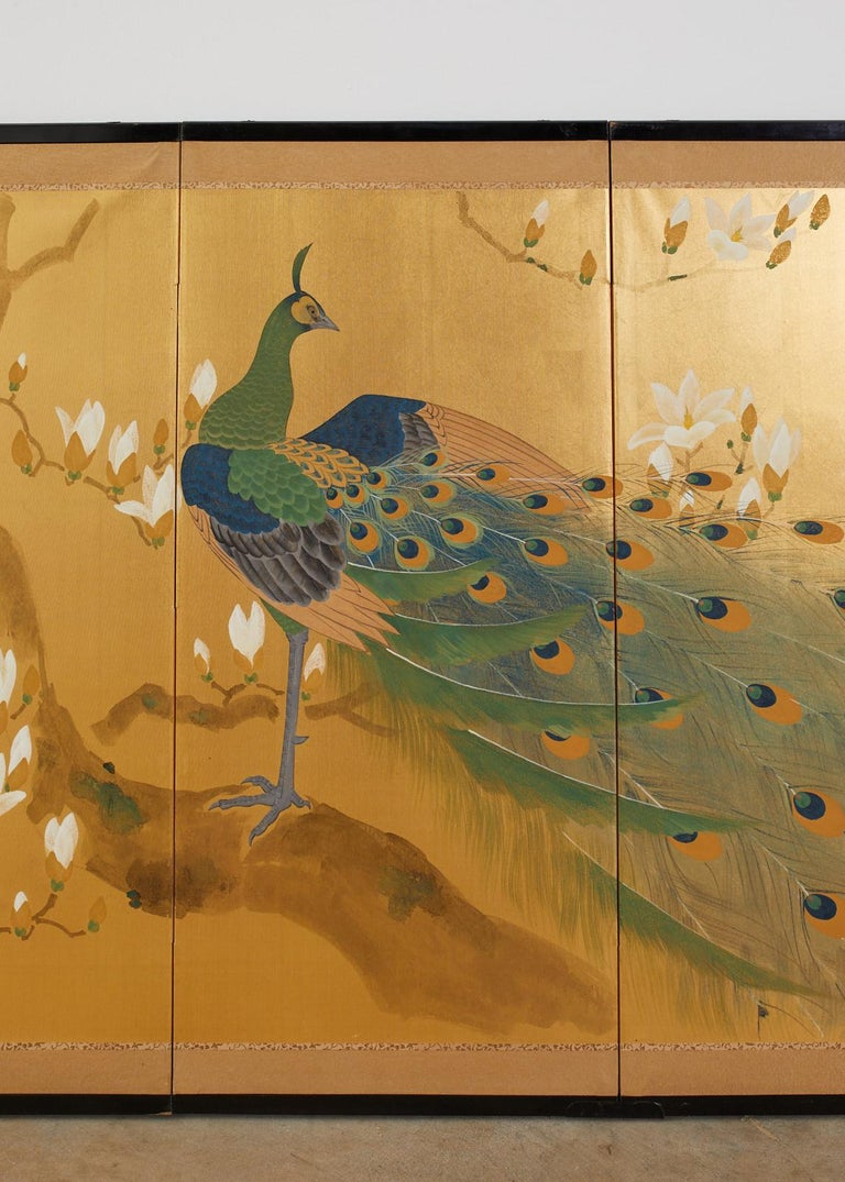 Japanese Four Panel Screen Peacock and Flowering Magnolia For Sale 9