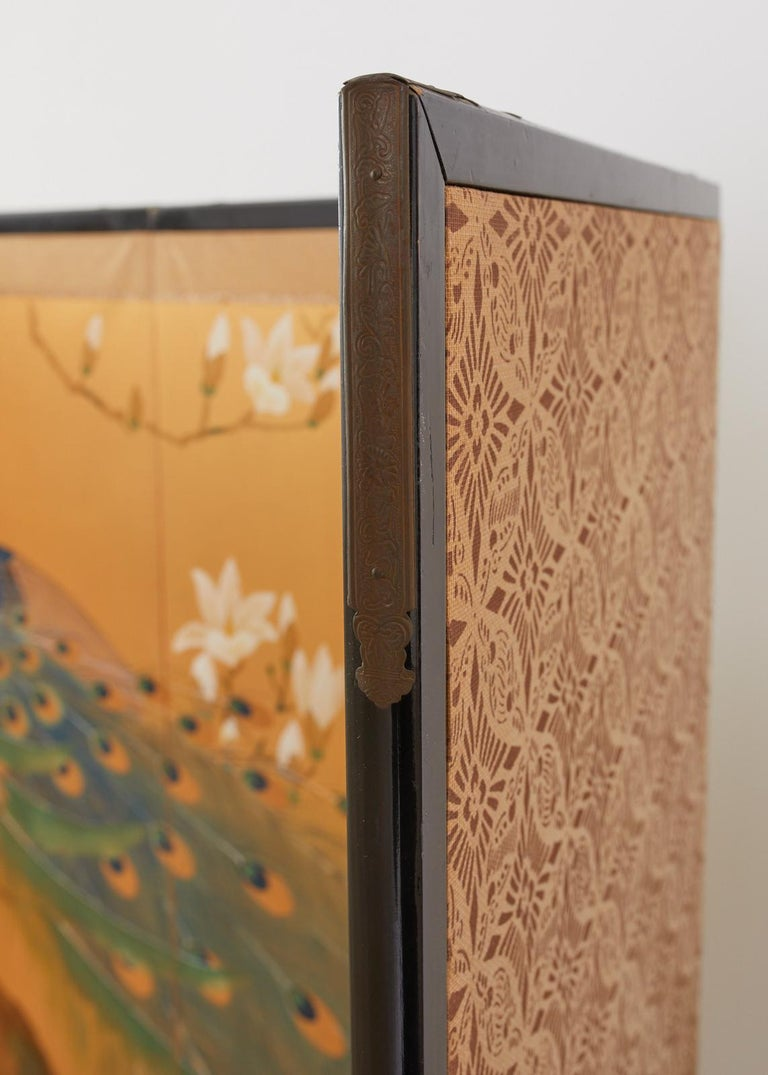 Japanese Four Panel Screen Peacock and Flowering Magnolia For Sale 10