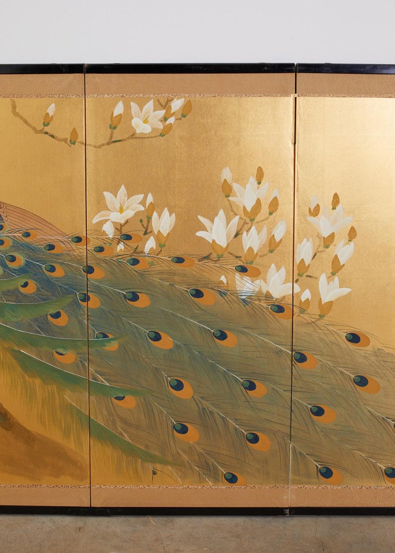 Japanese Four Panel Screen Peacock and Flowering Magnolia For Sale 11