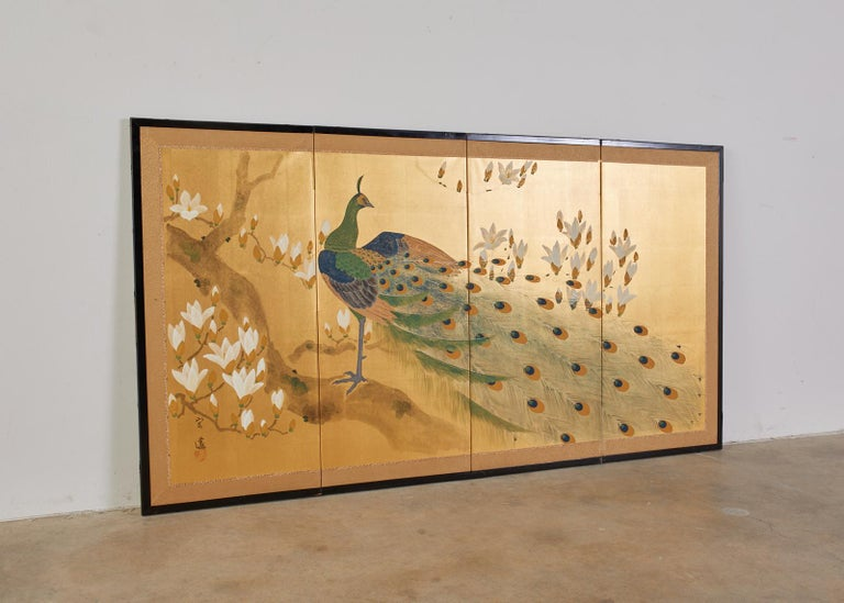 Meiji Japanese Four Panel Screen Peacock and Flowering Magnolia For Sale
