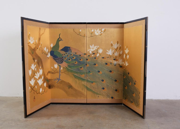 Gilt Japanese Four Panel Screen Peacock and Flowering Magnolia For Sale