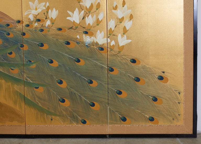 Paint Japanese Four Panel Screen Peacock and Flowering Magnolia For Sale