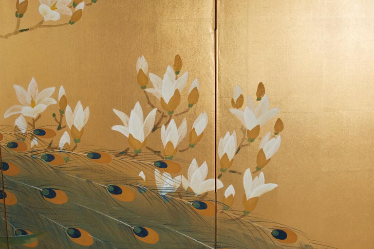 Japanese Four Panel Screen Peacock and Flowering Magnolia For Sale 1