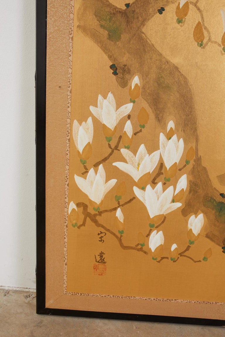 Japanese Four Panel Screen Peacock and Flowering Magnolia For Sale 2