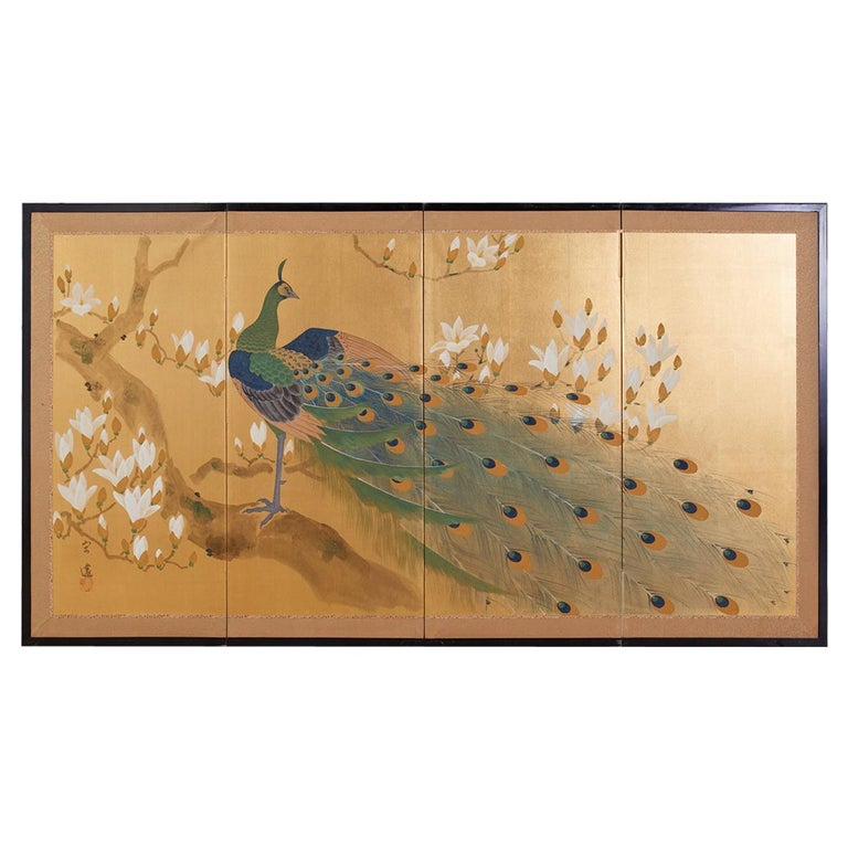 Japanese Four Panel Screen Peacock and Flowering Magnolia For Sale
