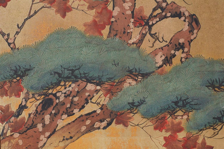 Japanese Four-Panel Screen Pine and Maple on Silk For Sale 3