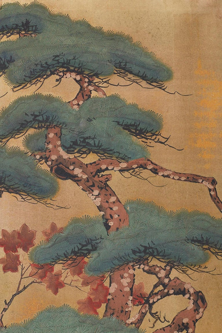 Japanese Four-Panel Screen Pine and Maple on Silk For Sale 4