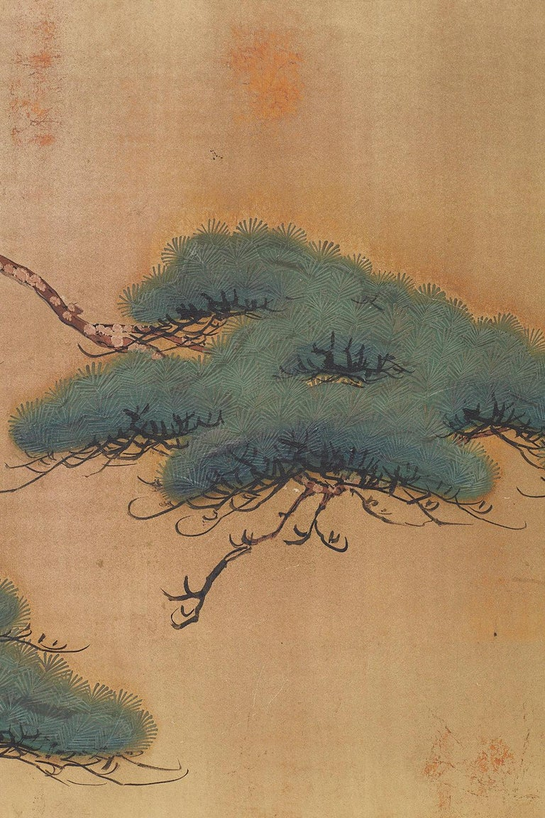 Japanese Four-Panel Screen Pine and Maple on Silk For Sale 9