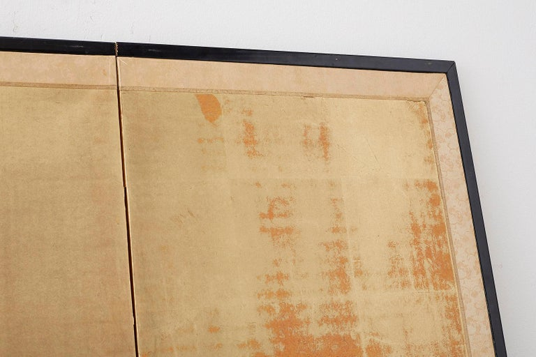 Japanese Four-Panel Screen Pine and Maple on Silk For Sale 7