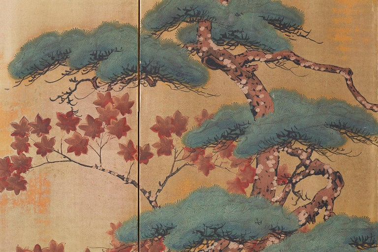 Japanese Four-Panel Screen Pine and Maple on Silk For Sale 12