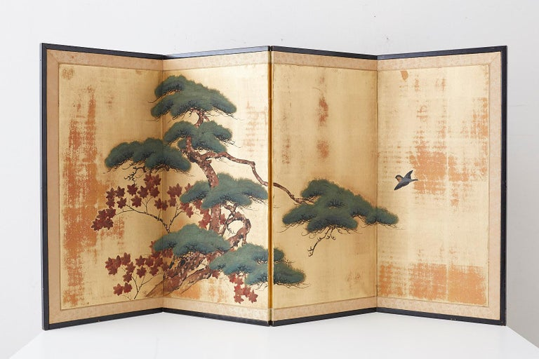 Japanese Four-Panel Screen Pine and Maple on Silk For Sale 15