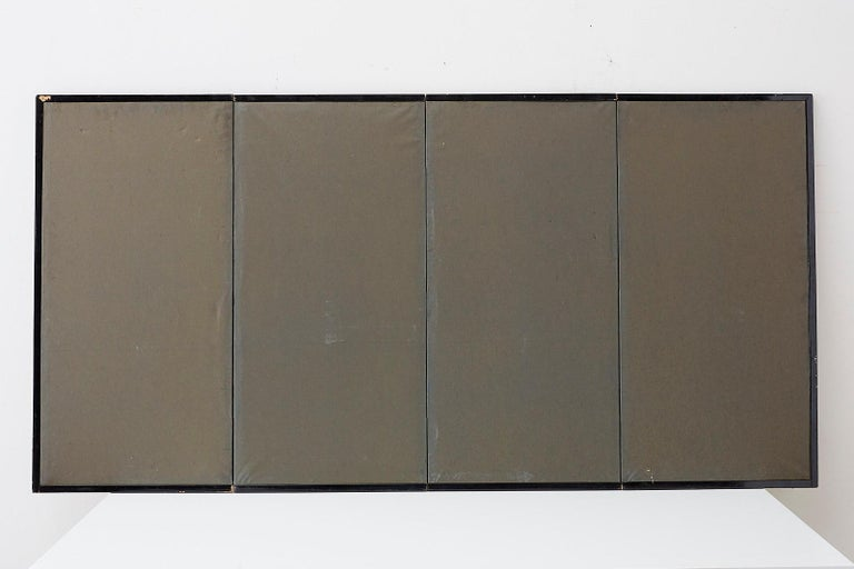 Japanese Four-Panel Screen Pine and Maple on Silk For Sale 13
