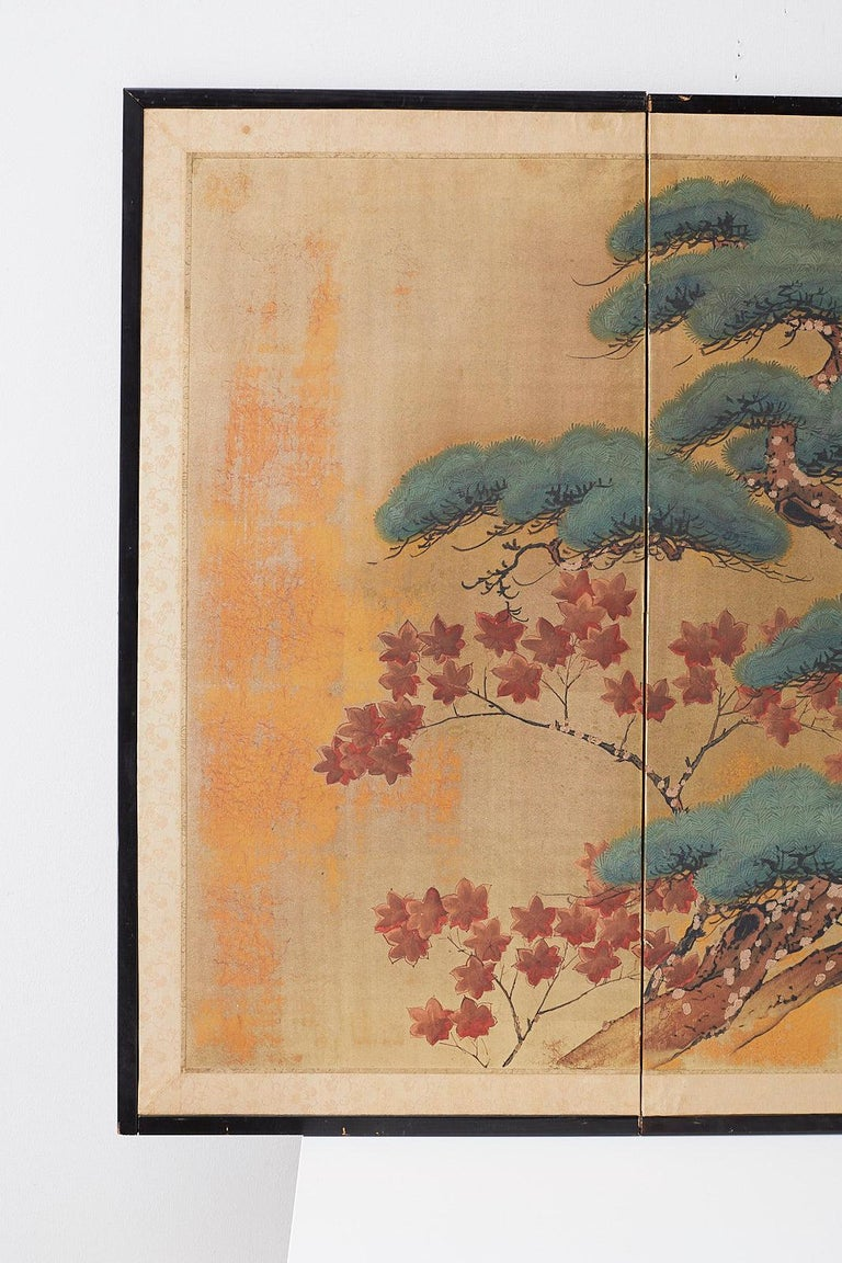 Mid-Century Modern Japanese Four-Panel Screen Pine and Maple on Silk For Sale
