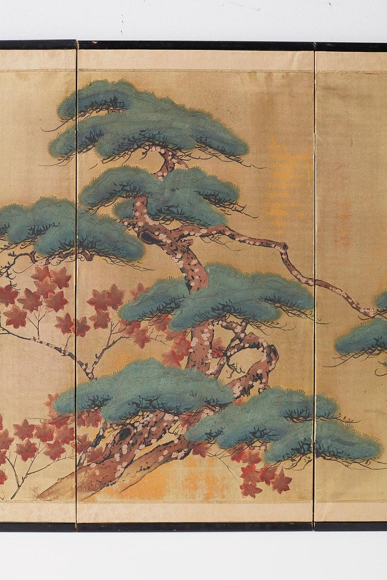 Lacquered Japanese Four-Panel Screen Pine and Maple on Silk For Sale