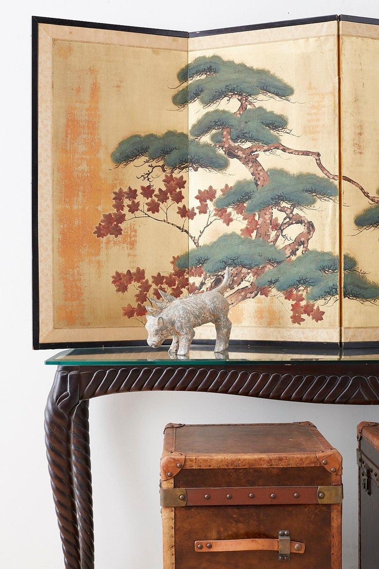 Japanese Four-Panel Screen Pine and Maple on Silk For Sale 2