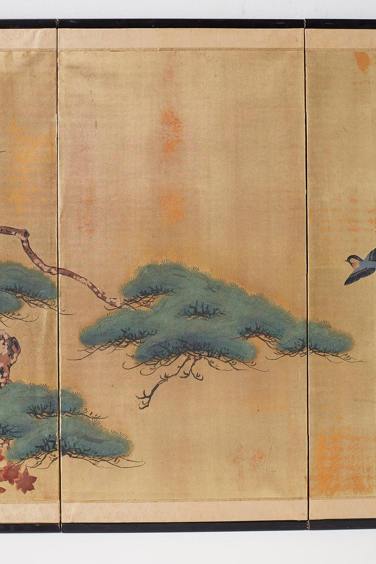20th Century Japanese Four-Panel Screen Pine and Maple on Silk For Sale