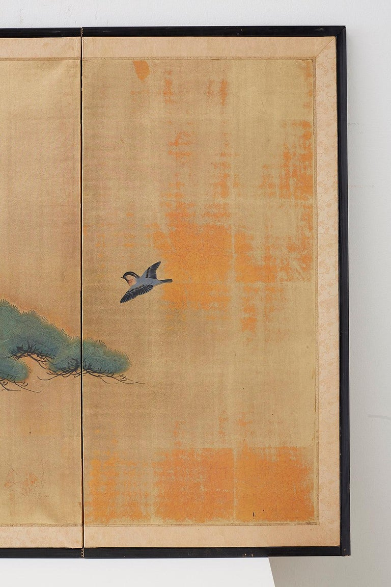 Paper Japanese Four-Panel Screen Pine and Maple on Silk For Sale