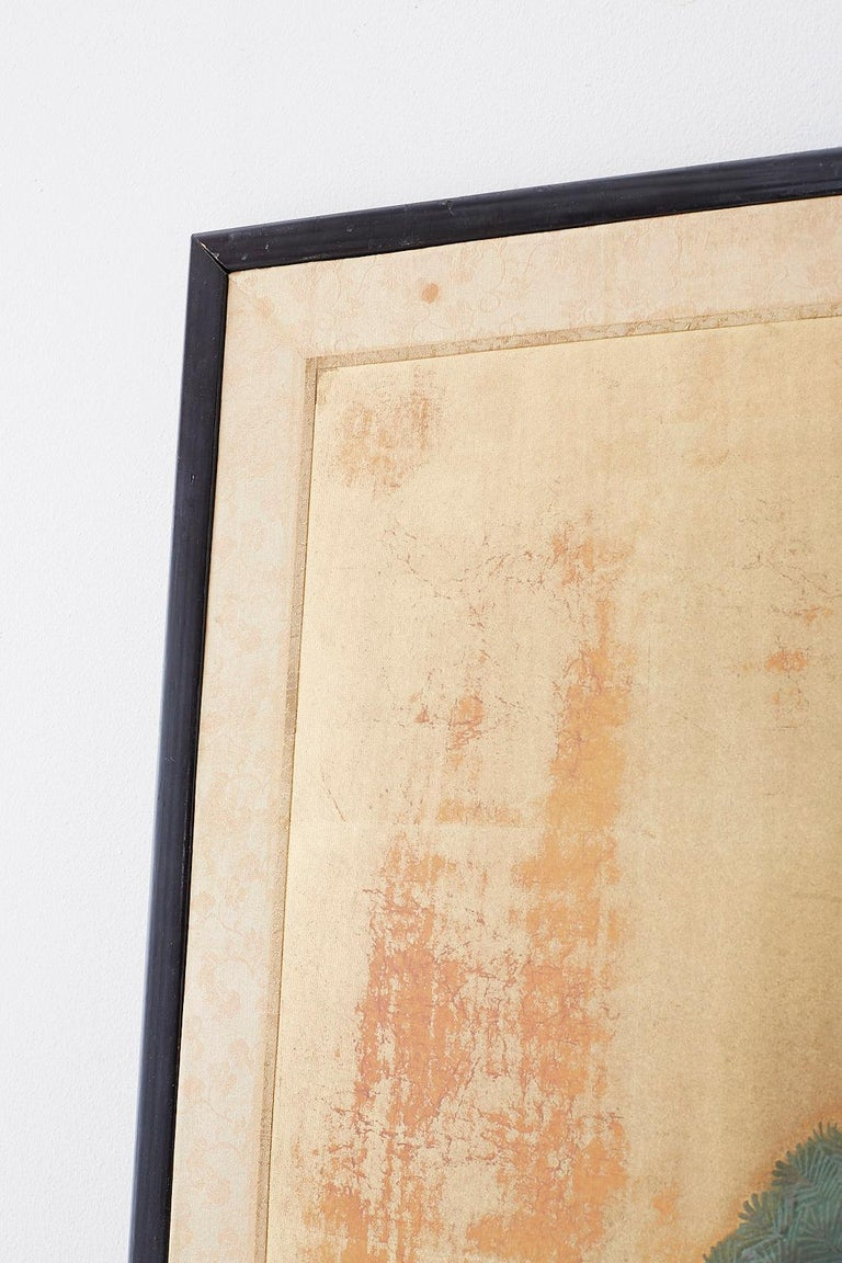 Japanese Four-Panel Screen Pine and Maple on Silk For Sale 5