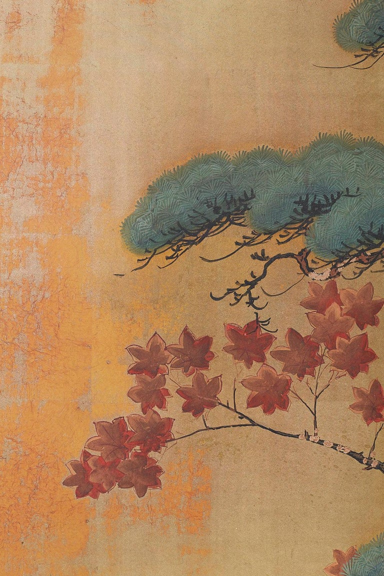 Japanese Four-Panel Screen Pine and Maple on Silk For Sale 6