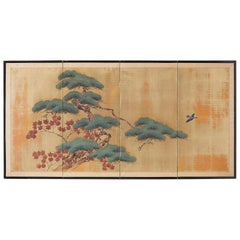 Japanese Four-Panel Screen Pine and Maple on Silk