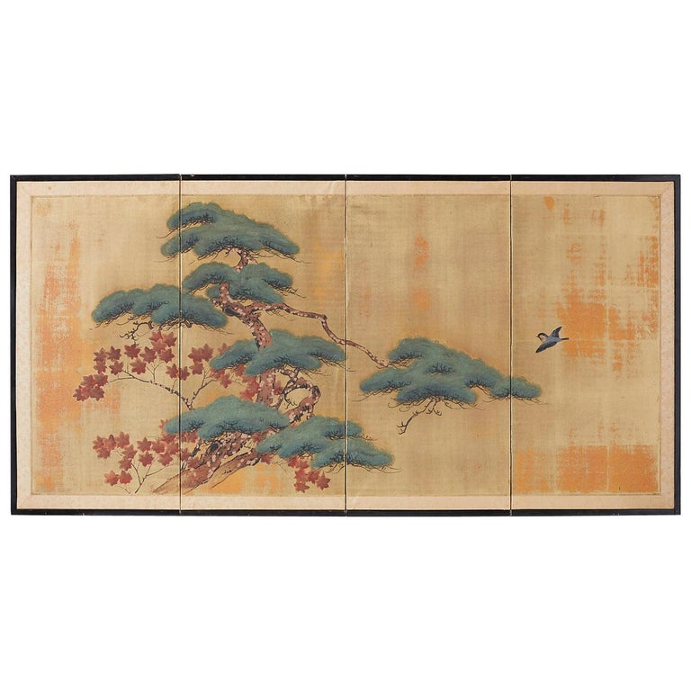 Japanese Four-Panel Screen Pine and Maple on Silk For Sale