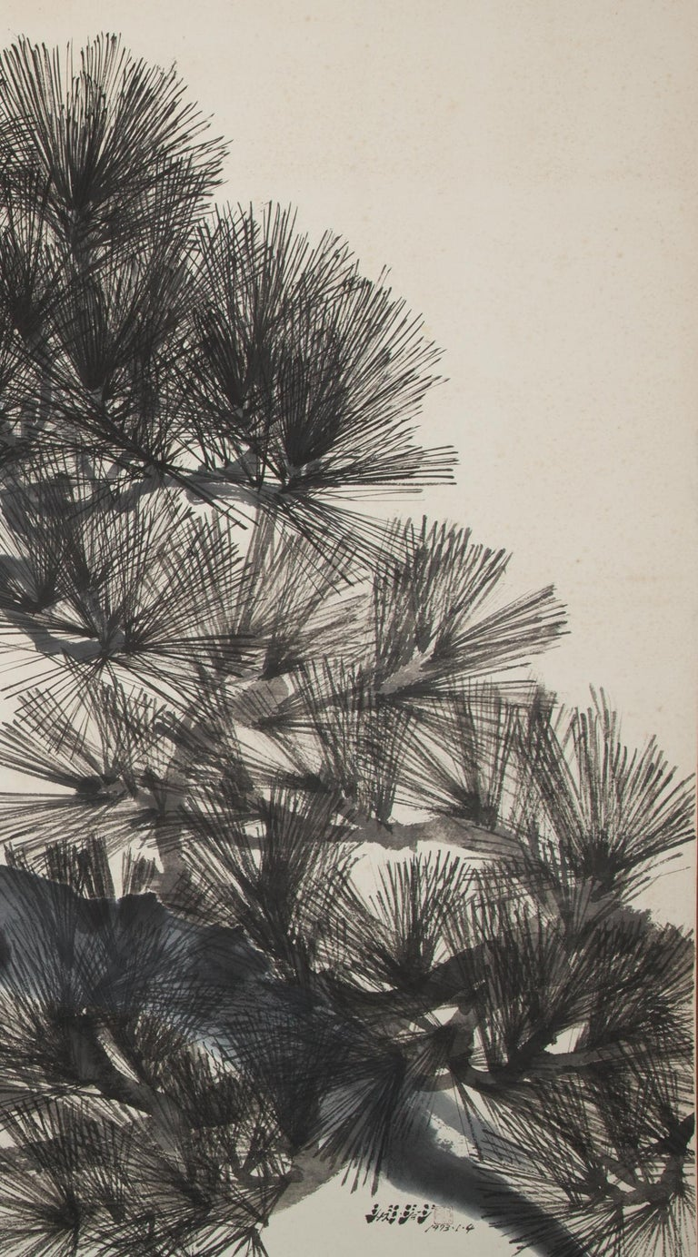 Showa Japanese Four Panel Screen Pine Tree For Sale