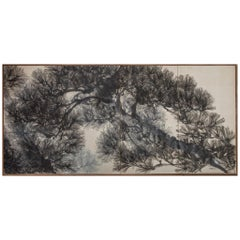 Japanese Four Panel Screen Pine Tree