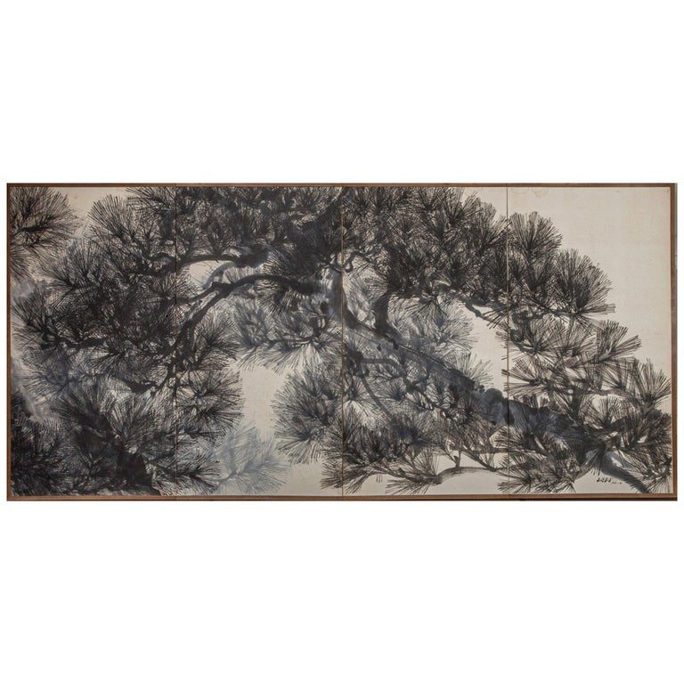 Japanese Four Panel Screen Pine Tree For Sale