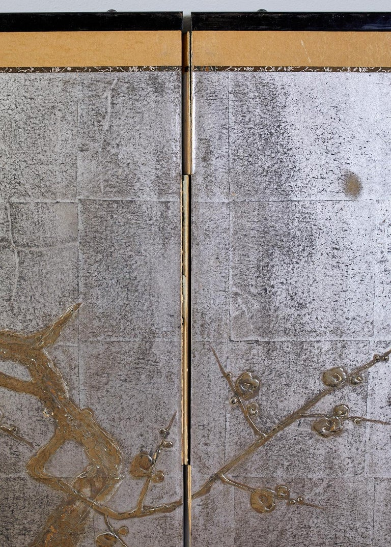 Japanese Four Panel Screen Prunus Tree on Silver Leaf For Sale 4