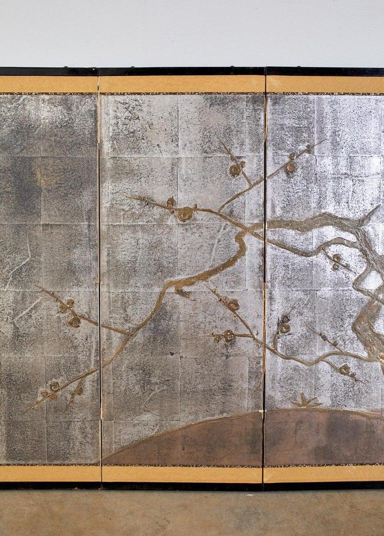 Edo Japanese Four Panel Screen Prunus Tree on Silver Leaf For Sale