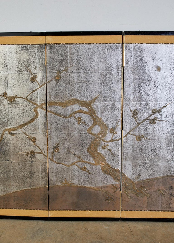 Ebonized Japanese Four Panel Screen Prunus Tree on Silver Leaf For Sale