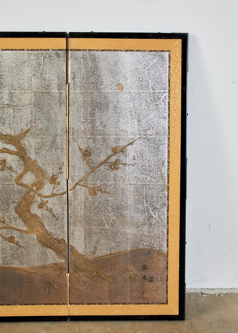 Japanese Four Panel Screen Prunus Tree on Silver Leaf In Fair Condition For Sale In Rio Vista, CA