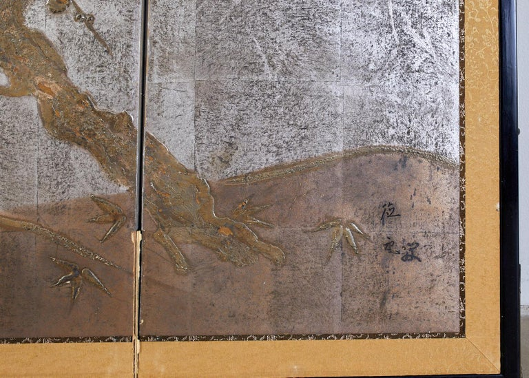 20th Century Japanese Four Panel Screen Prunus Tree on Silver Leaf For Sale