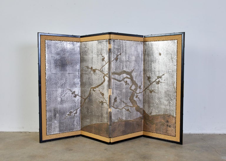 Brass Japanese Four Panel Screen Prunus Tree on Silver Leaf For Sale