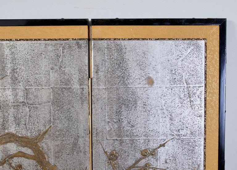 Japanese Four Panel Screen Prunus Tree on Silver Leaf For Sale 2