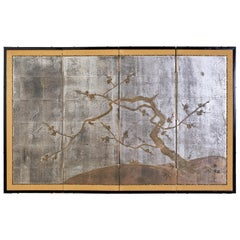 Japanese Four Panel Screen Prunus Tree on Silver Leaf