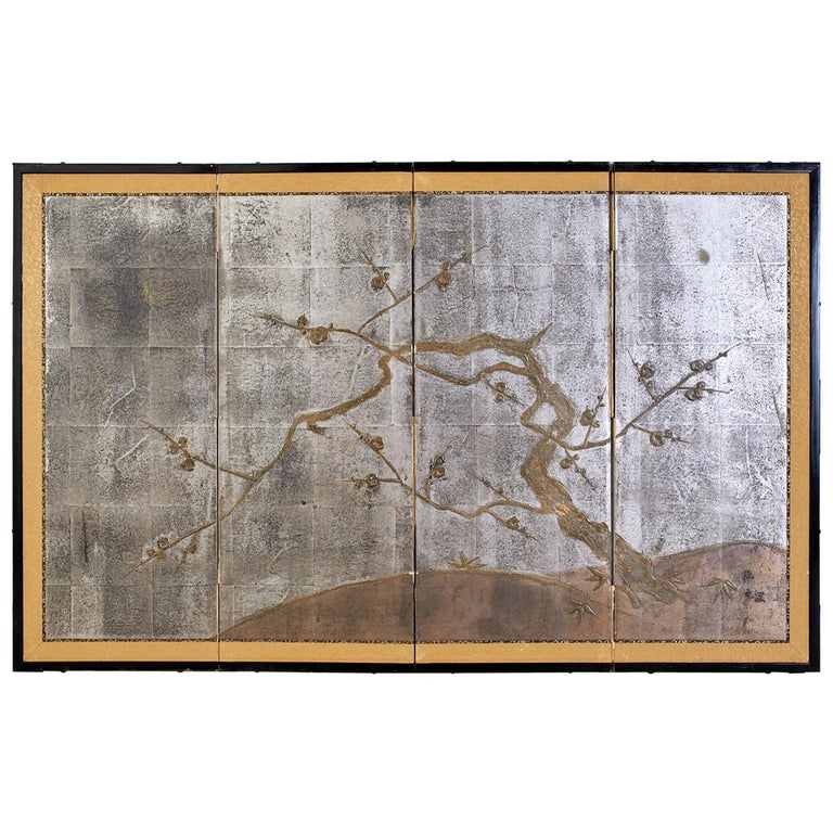 Japanese Four Panel Screen Prunus Tree on Silver Leaf For Sale