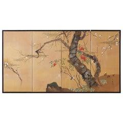 Japanese Four-Panel Screen Prunus Tree with Nandina