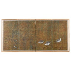 Japanese Four-Panel Screen Quail in Autumn Landscape