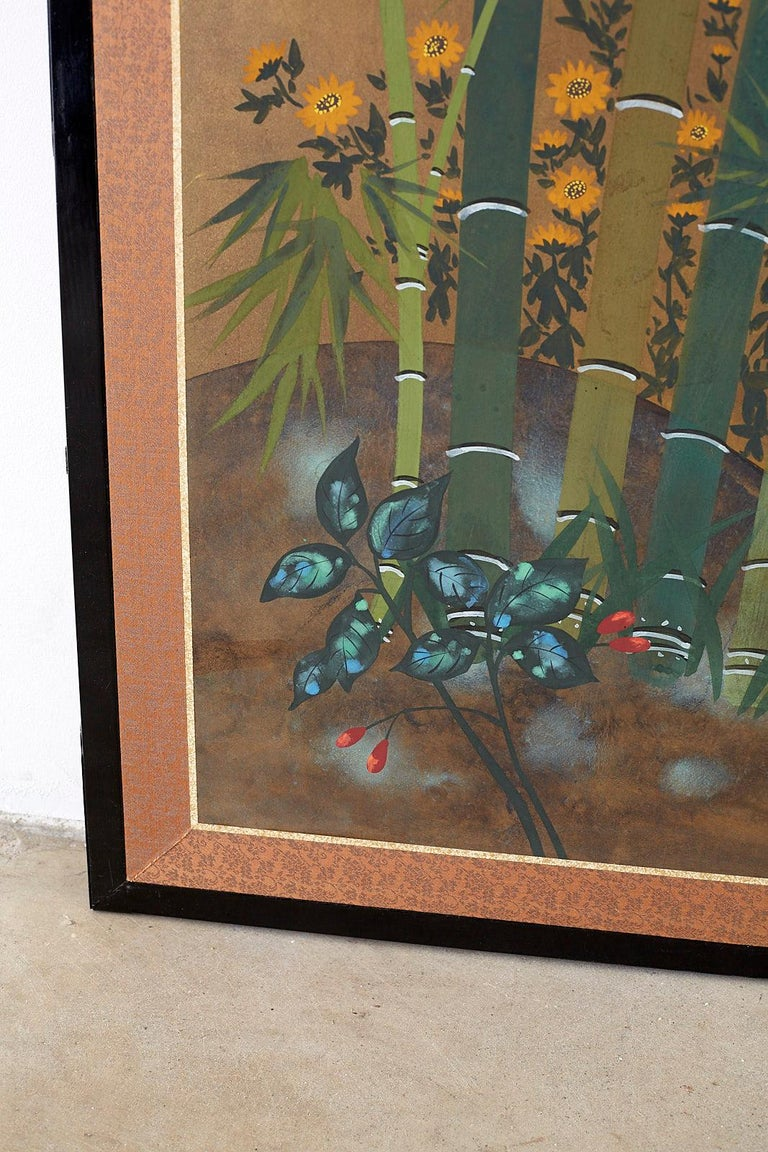 Japanese Four Panel Screen Quail in Flower Bamboo Landscape For Sale 3