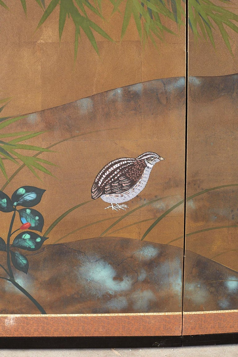 Japanese Four Panel Screen Quail in Flower Bamboo Landscape For Sale 4